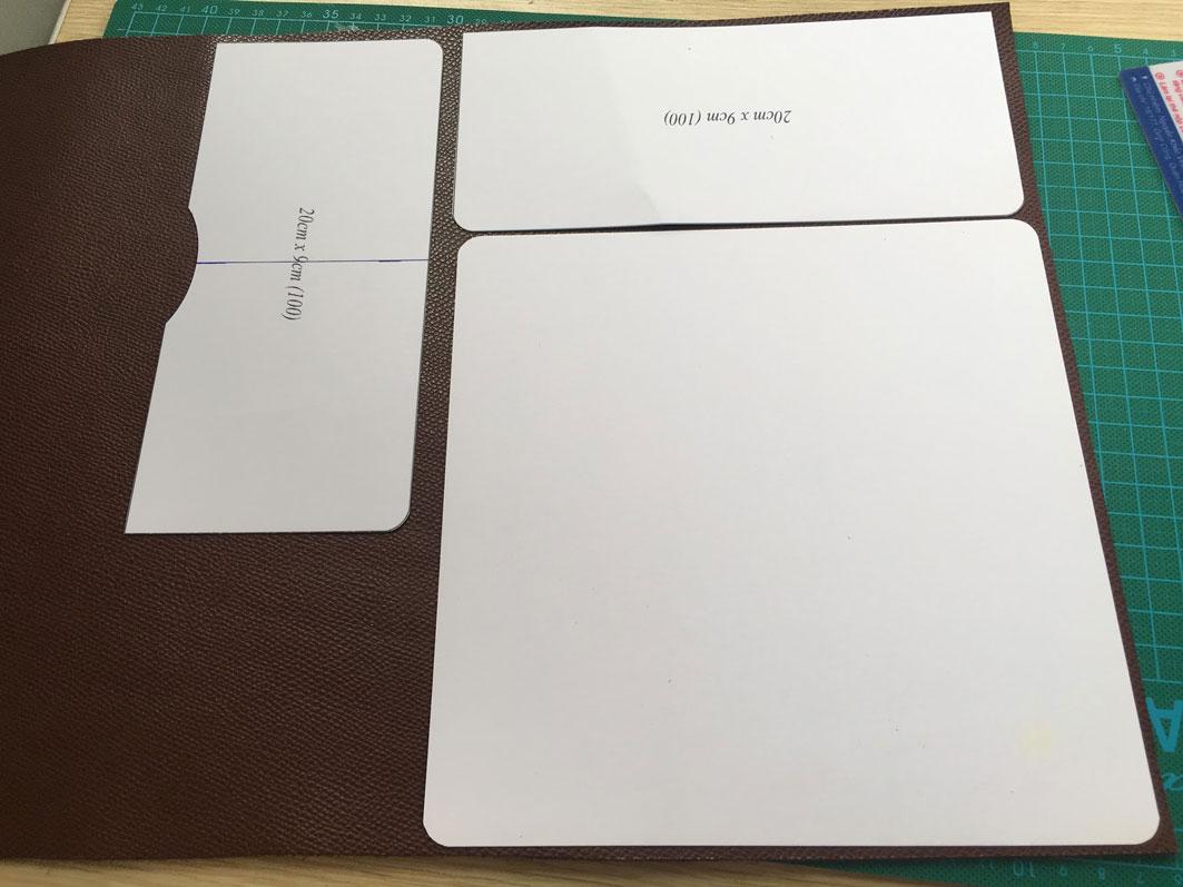 Vẽ các phần của chiếc ví da ra giấy