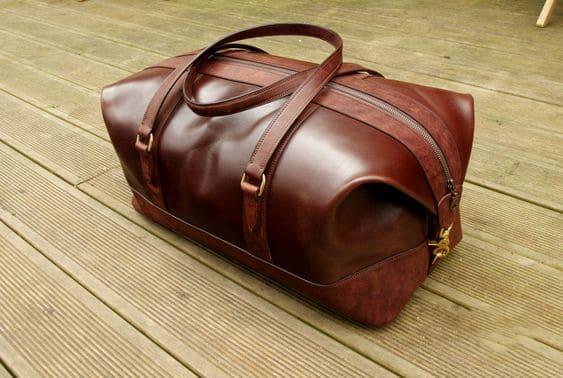 Túi trống du lịch da thật Pullup màu nâu cafe
